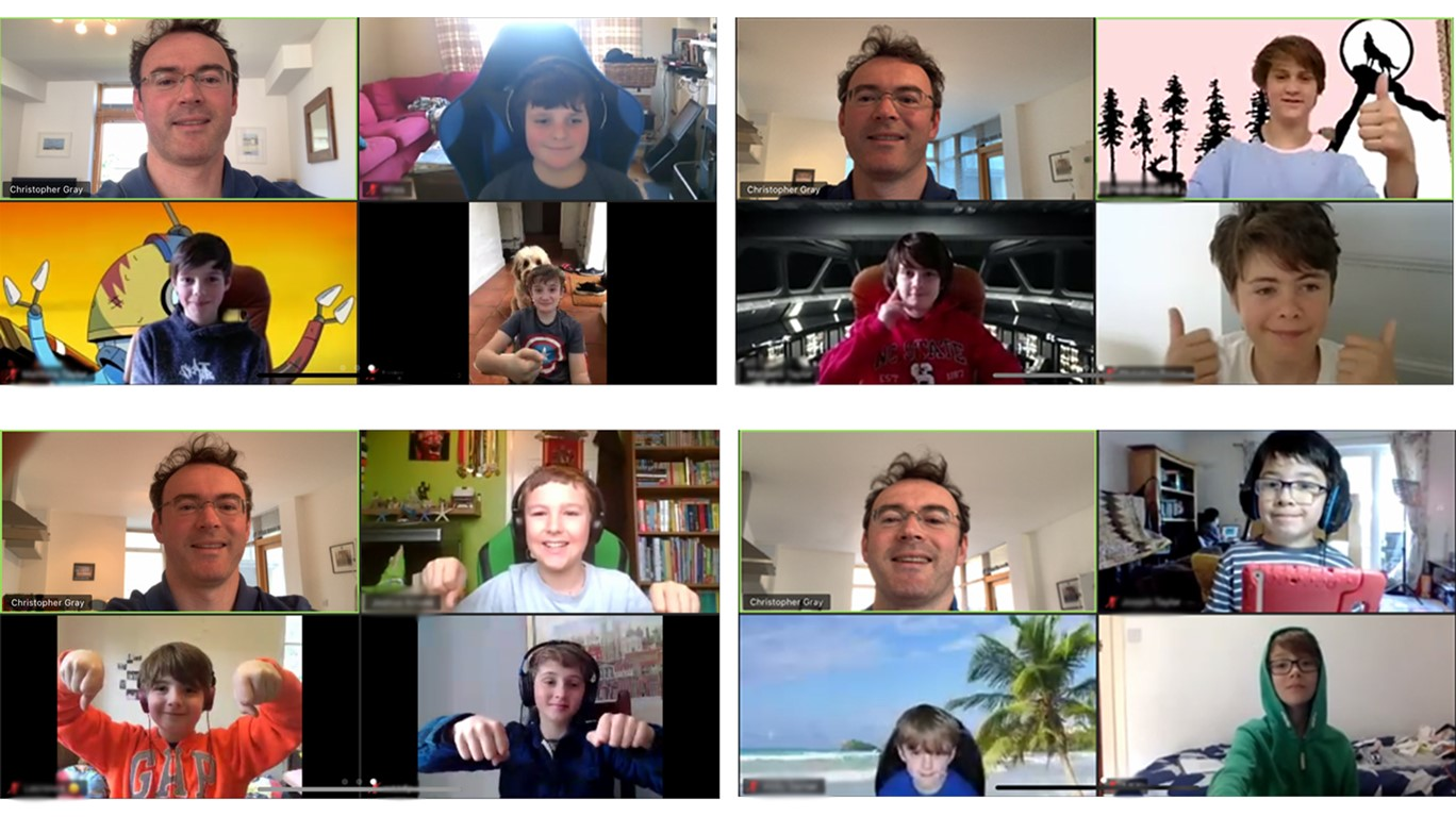 screenshot collage of Truro Cathedral choristers and Christopher Gray on a zoom meeting