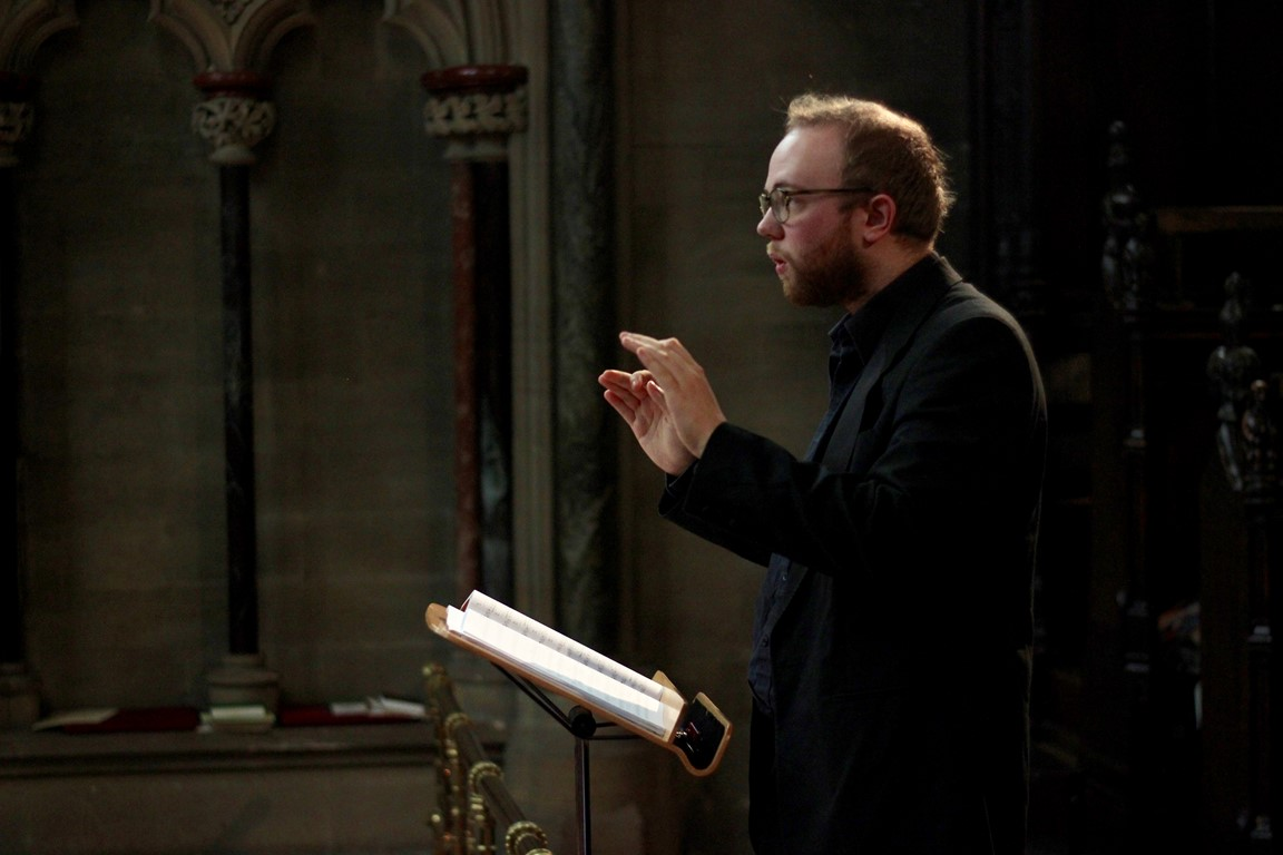 Side view of assistant director of music at Truro Cathedral Joseph Wicks