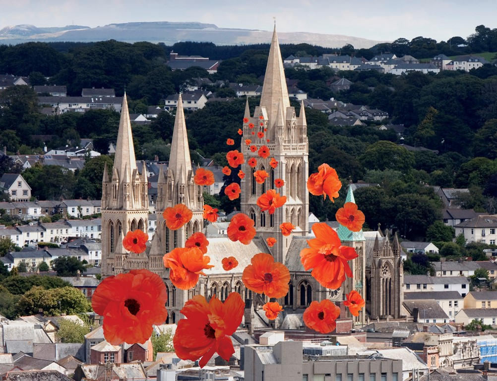 Remembrance poppies falling around Truro Cathedral