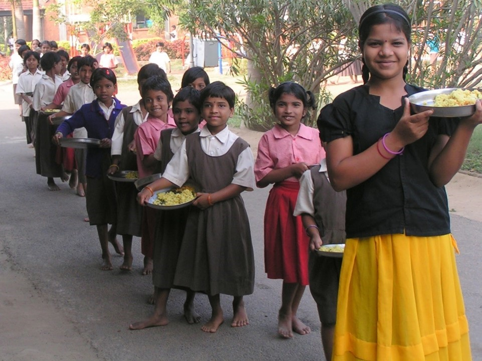 Children in india at residential charity school