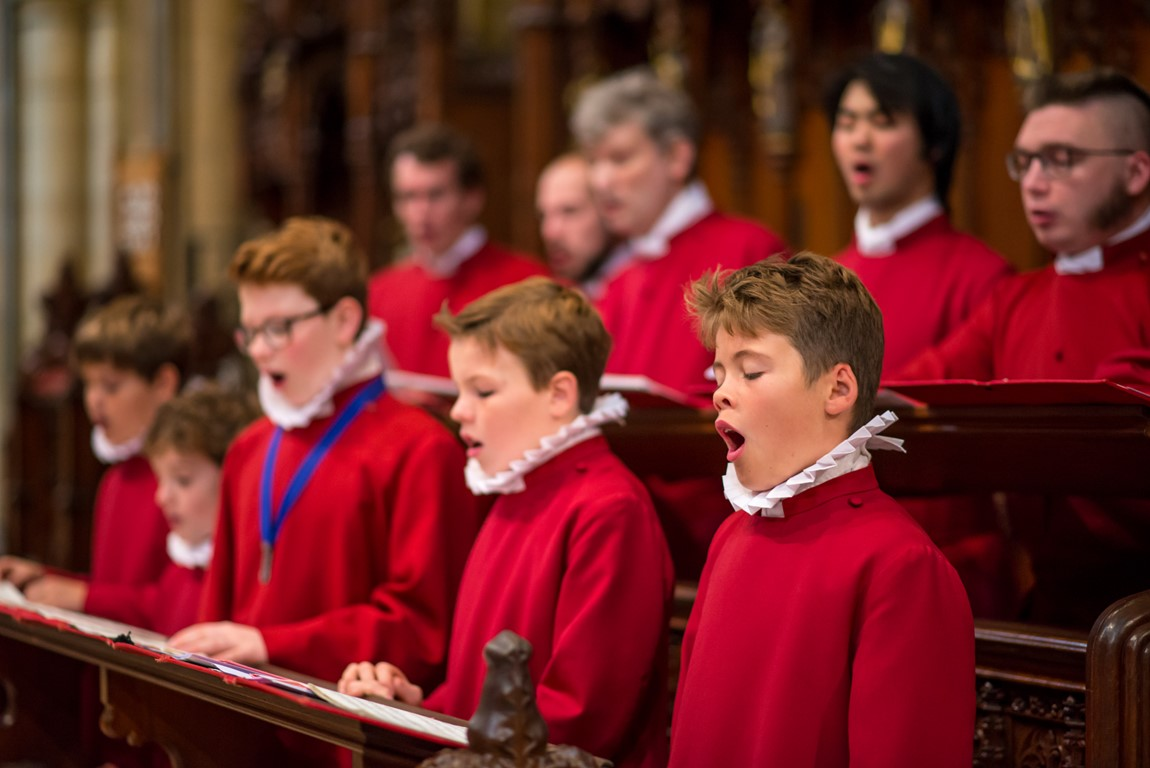 Choirboys from Truro Cathedral Choir singing