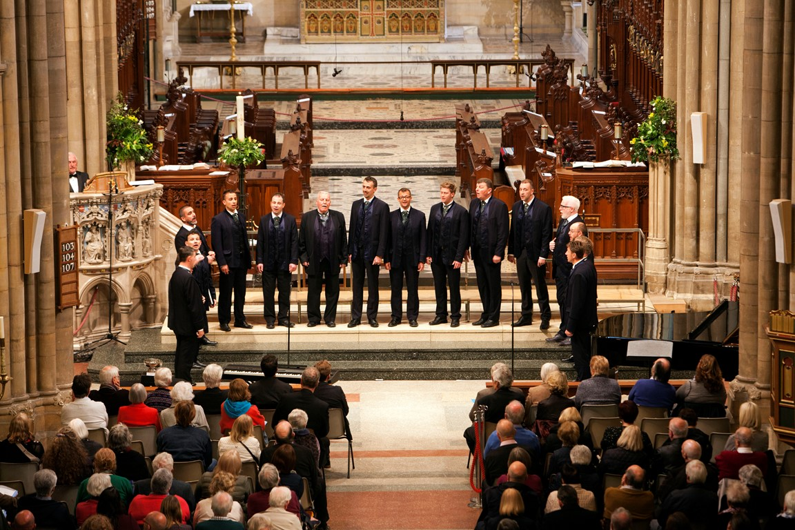 Participants of the Cornwall International Male Choral Festival singing in Truro Cathedral