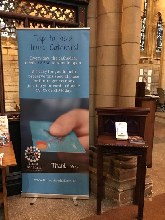 Contactless donation machine and sign in Truro Cathedral