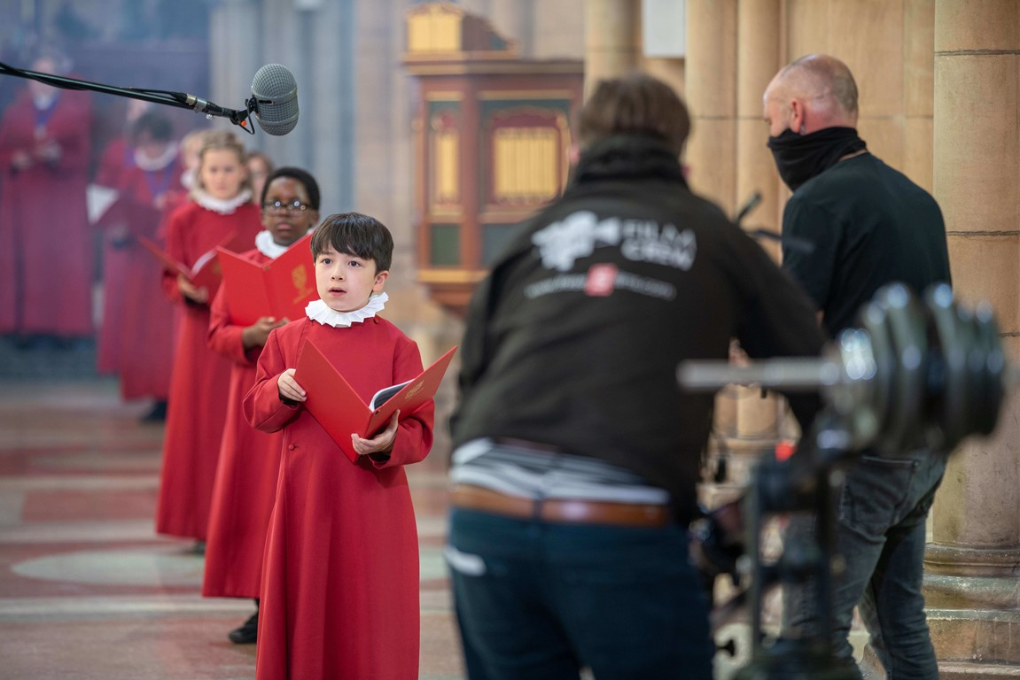 Choristers being filmed in Truro Cathedral
